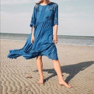 Akemi + kin • anthro blue meadow flutter dress